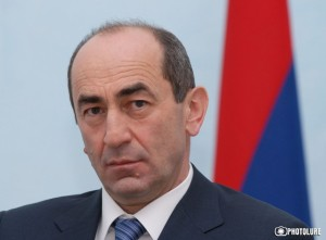 RA President Robert Kocharyan gives a press conference