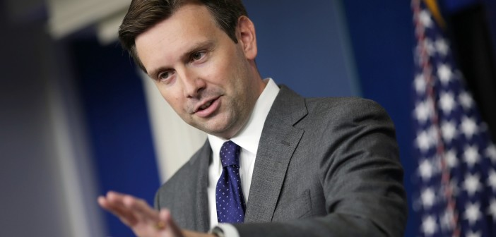 FILE - MAY 30, 2014: White House Deputy Press Secretary Josh Earnest will succeed outgoing White House Press Secretary Jay Carney in an announcement by U.S. President Barack Obama May 30, 2014. WASHINGTON, DC - AUGUST 29:  White House Principal Deputy Press Secretary Josh Earnest answers questions during the daily media briefing in the Brady Press Briefing Room at the White House August 29, 2013 in Washington, DC. Earnest fielded questions from reporters about the Obama Administration's stance and response to the alleged use of chemical weapons in Syria. (Photo by Chip Somodevilla/Getty Images)