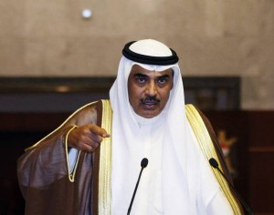 Kuwait's Foreign Minister Sheikh Sabah Khalid Al-Hamad Al-Sabah speaks during a joint news conference with his Iraqi counterpart Hoshyar Zebari (not pictured) in Baghdad June 12, 2013.  REUTERS/Karim Kadim/Pool  (IRAQ - Tags: POLITICS)