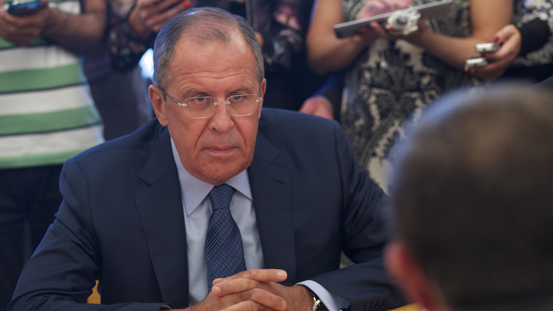 Russian Foreign Minister, Sergey Lavrov, meets with veteran Syrian exiled opposition figure, Haitham Manna, in Moscow, Russia, Friday, Aug. 14, 2015. The meeting was part of Russia's new effort to help mediate the Syrian conflict. (AP Photo/Ivan Sekretarev)