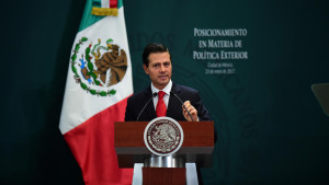 Mexican President Enrique Pena Nieto gives a foreign policy speech after US President Donald Trump vowed to start renegotiating North American trade ties, in Mexico City on January 23, 2017. Trump's vows to scrap the North American Free Trade Agreement to protect US jobs have raised concern in Mexico, which sends most of its exports to the United States. Pena Nieto's office said he congratulated Trump on taking office in a phone call Saturday and that both had agreed to open a