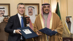 """A handout picture released by the NATO Media Library on January 24, 2017 shows Kuwaiti First Deputy Prime Minister and Foreign Minister Sheikh Sabah al-Khaled al-Sabah (R) posing for a picture with NATO Secretary General Jens Stoltenberg following their meeting in Kuwait City. / AFP PHOTO / NATO MEDIA LIBRARY / Handout / == RESTRICTED TO EDITORIAL USE - MANDATORY CREDIT """"AFP PHOTO/ NATO MEDIA LIBRARY/ HO"""" - NO MARKETING NO ADVERTISING CAMPAIGNS - DISTRIBUTED AS A SERVICE TO CLIENTS =="""