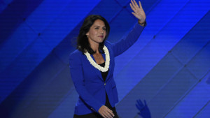 US Representative Tulsi Gabbard speaks during Day 2 of the Democratic National Convention at the Wells Fargo Center in Philadelphia, Pennsylvania, July 26, 2016. / AFP PHOTO / SAUL LOEB