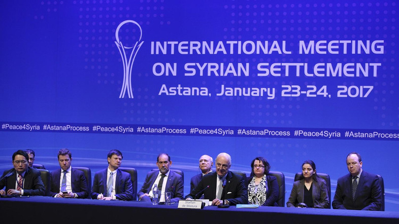 U.N. special envoy for Syria Staffan de Mistura attends a news conference following Syria peace talks in Astana, Kazakhstan January 24, 2017. REUTERS/Mukhtar Kholdorbekov - RTSX4KN