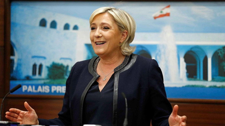 Marine Le Pen, French National Front (FN) political party leader and candidate for French 2017 presidential election, speaks during a news conference after her meeting with Lebanon's President Michel Aoun at the presidential palace in Baabda, Lebanon, February 20, 2017. REUTERS/Mohamed Azakir - RTSZGJI