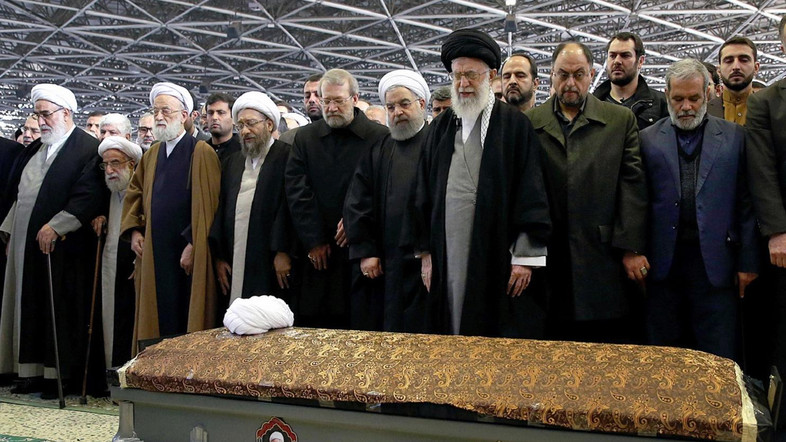 """This handout photo provided by the official website of the Center for Preserving and Publishing the Works of Iran's supreme leader, Ayatollah Ali Khamenei (4-R), shows him and President Hassan Rouhani (C) attending a funeral ceremony held for the former Iranian President Akbar Hashemi Rafsanjani in the capital Tehran, on January 10, 2017. / AFP PHOTO / KHAMENEI.IR / HO / === RESTRICTED TO EDITORIAL USE - MANDATORY CREDIT """"AFP PHOTO / HO / KHAMENEI.IR"""" - NO MARKETING NO ADVERTISING CAMPAIGNS - DISTRIBUTED AS A SERVICE TO CLIENTS ==="""