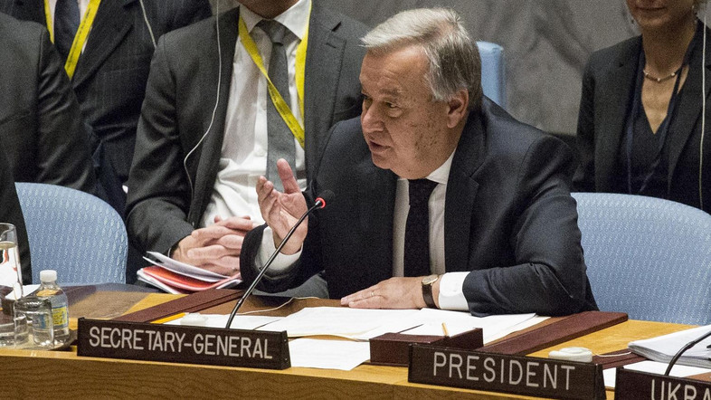 UN Secretary-General Antonio Guterres speaks after a minute of silence at the Security Council on February 21, 2017 at UN Headquarters in New York. Russia's ambassador to the United Nations, Vitaly Churkin, who for years fended off Western criticism and defended Moscow's actions in Ukraine and Syria, died February 20, 2017 in New York. He was 64. Churkin collapsed while at work at the Russian mission to the United Nations Monday morning and was rushed to a Manhattan hospital, apparently suffering from heart problems, diplomatic sources said.  / AFP PHOTO / KENA BETANCUR