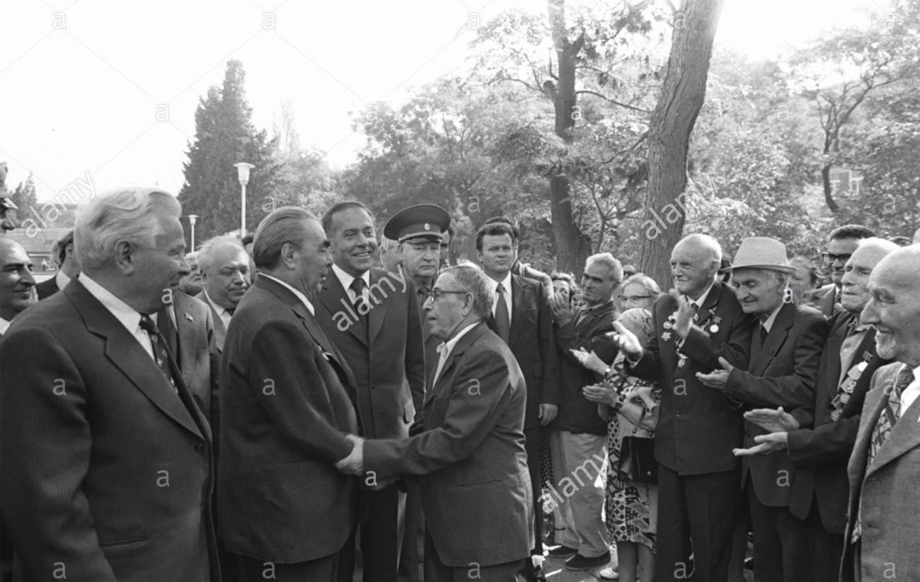 Брежнев Л.И. и Алиев Г.А. во время посещения Мемориала 26 бакинских комиссаров, 1978г.