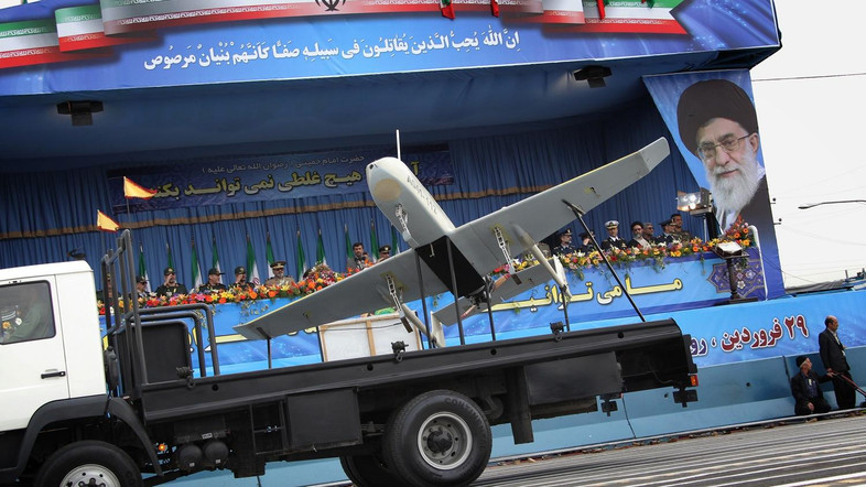 An Iranian-made drone is paraded during the Army Day celebrations in Tehran on April 18, 2010. President Mahmoud Ahmadinejad said that Israel was on its way to collapse, as Iran's military displayed a range of home-built drones and missiles at the annual Army Day parade. AFP PHOTO/BEHROUZ MEHRI / AFP PHOTO / BEHROUZ MEHRI