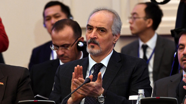 Syria's UN ambassador and head of the government delegation Bashar al-Jaafari attends the first session of Syria peace talks at Astana's Rixos President Hotel on January 23, 2017. / AFP PHOTO / Kirill KUDRYAVTSEV