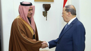 Lebanon's President Michel Aoun (R) meets with Saudi Arabia's Arab Gulf Affairs Minister Thamer al-Sabhan at the presidential palace in Baabda, Lebanon February 6, 2017. Dalati Nohra/Handout via Reuters ATTENTION EDITORS - THIS IMAGE HAS BEEN SUPPLIED BY A THIRD PARTY. FOR EDITORIAL USE ONLY.