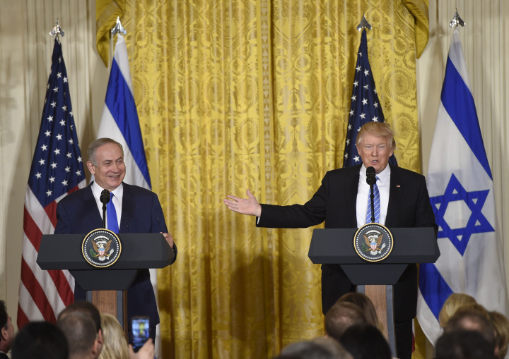 US President Donald Trump and Israeli Prime Minister Benjamin Netanyahu hold a joint press conference in the East Room of the White House in Washington, DC, February 15, 2017. / AFP / SAUL LOEB        (Photo credit should read SAUL LOEB/AFP/Getty Images)