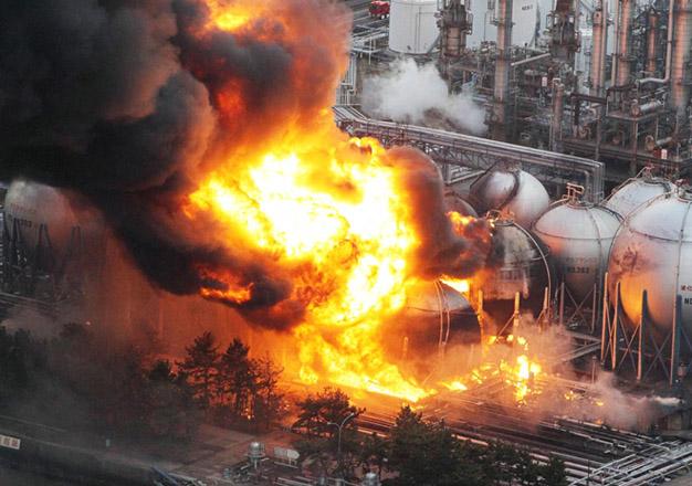 Incendio de deposito de gas natural em Chiba, proximo a Toquio. Foto: Asahi/Reuters