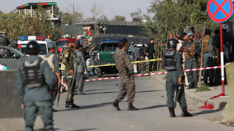 Afghan security police inspect at the site of suicide attack near the Afghan Defense Ministry in Kabul, Afghanistan, Monday, Sept. 5, 2016. Twin bombings near the Afghan Defense Ministry have killed dozens of people in an attack claimed by the Taliban. (AP Photo/Rahmat Gul)