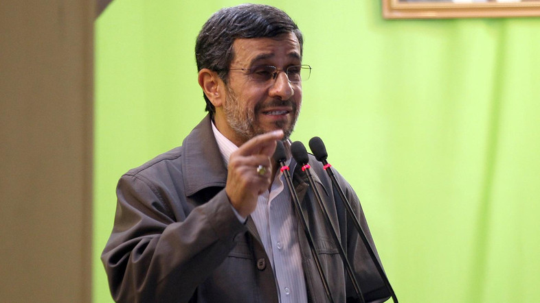 """Iranian President Mahmoud Ahmadinejad adresses his weekly Friday prayer sermon at Tehran University on August 2, 2013 as Iran marks Al-Quds (Jerusalem) International Day. Ahmadinejad warned arch-foe Israel in one of his last public speeches that a regional storm was brewing that would """"uproot"""" the Jewish state.  AFP PHOTO/ATTA KENARE / AFP PHOTO / ATTA KENARE"""