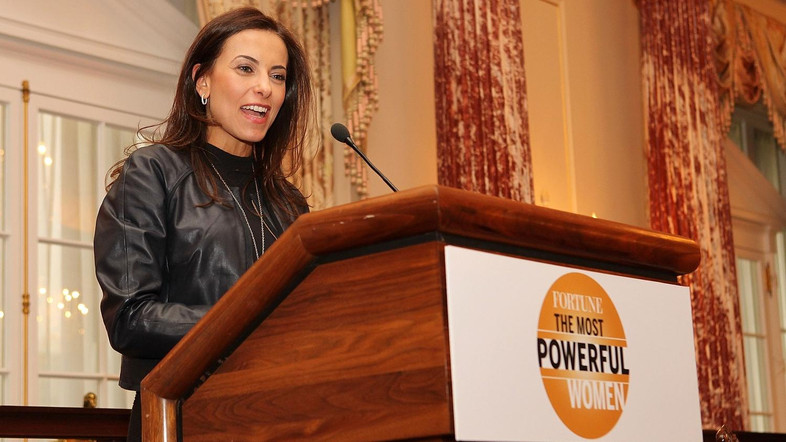 WASHINGTON, DC - APRIL 30: Dina Powell makes a few remarks at FORTUNE Most Powerful Women Dinner at U.S Department Of State's Benjamin Franklin Diplomatic Room on April 30, 2012 in Washington, DC.   Paul Morigi/Getty Images for Fortune/AFP