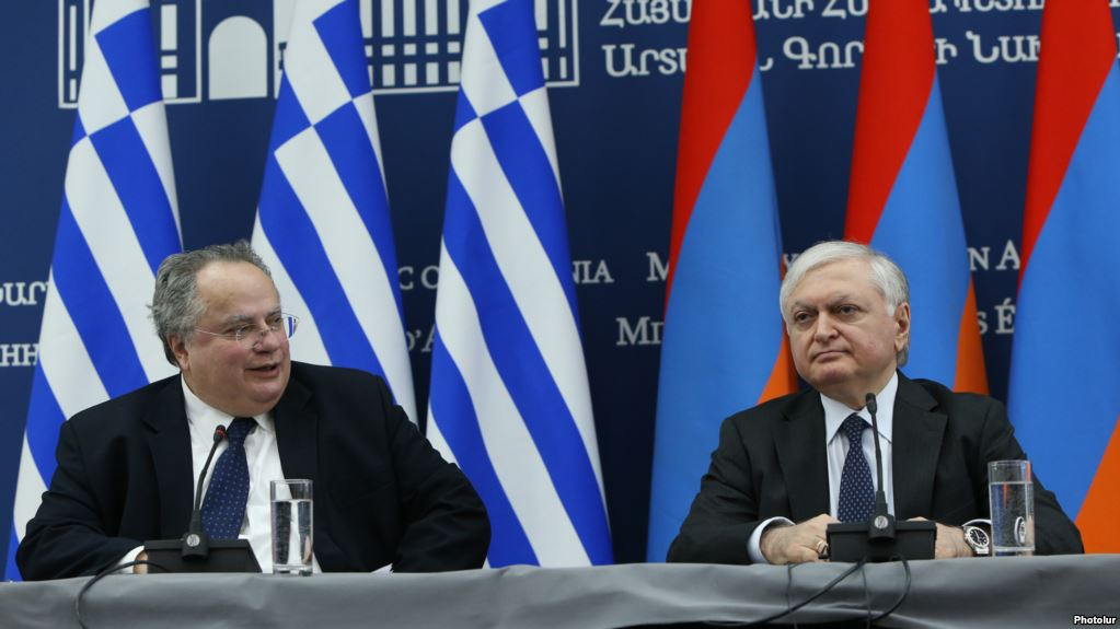 RA Minister of Foreign Affairs Edward Nalbandyan and Foreign Minister of Greece Nikos Kotzias gave a joint press conference