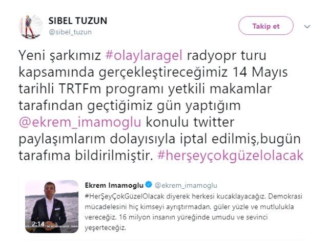 Məşhur müğənninin TRT-dəki proqramı ləğv edildi –İmamoğluna dəstək verdiyi üçün